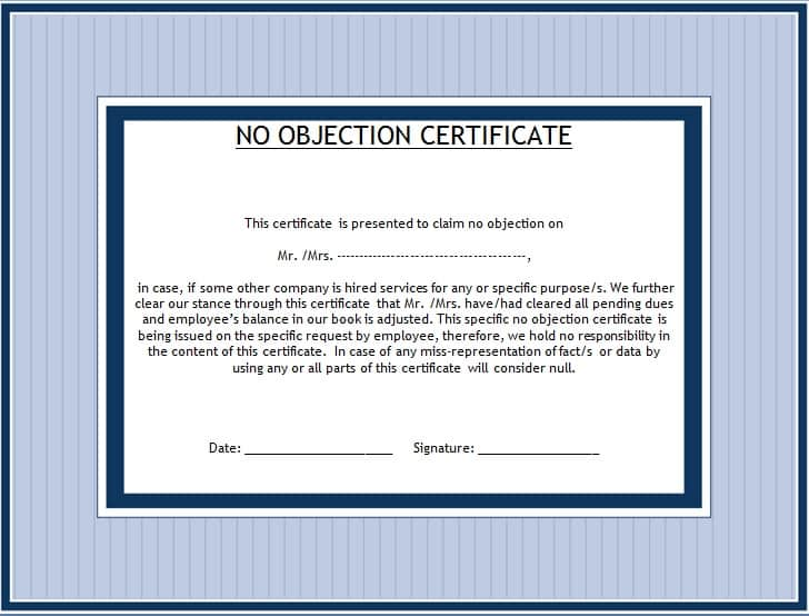 Doc768994 Noc Letter Sample No Objection Letter Certificate – Noc Certificate Format in Pdf