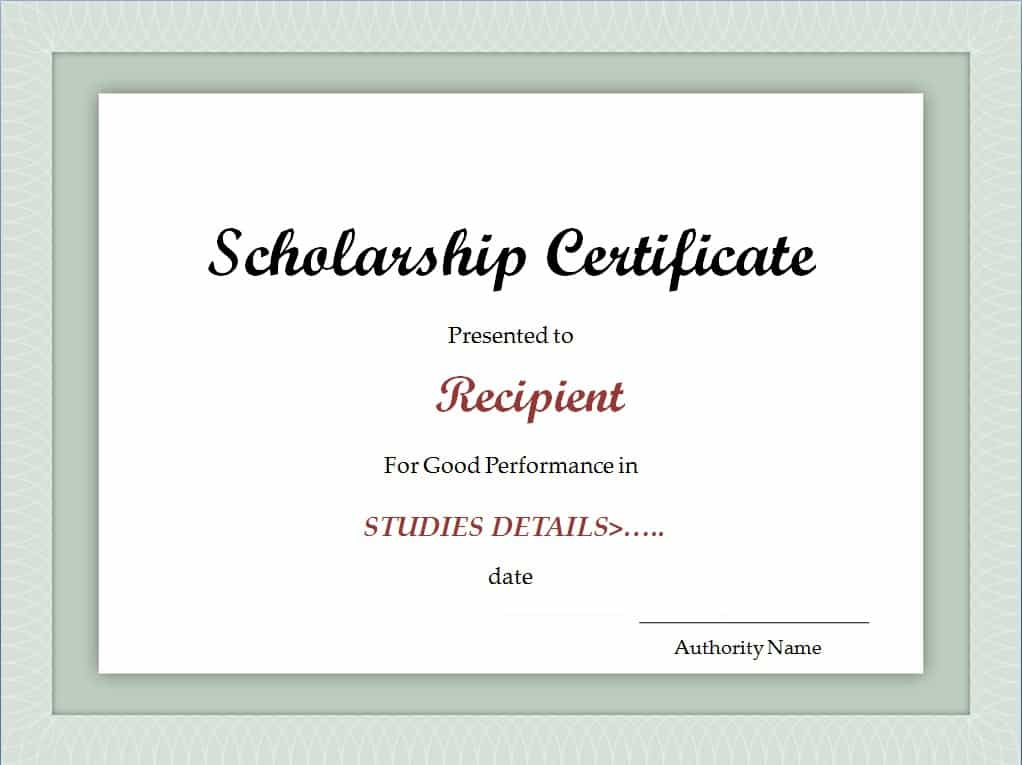 scholarship certificate template excel xlts. Black Bedroom Furniture Sets. Home Design Ideas
