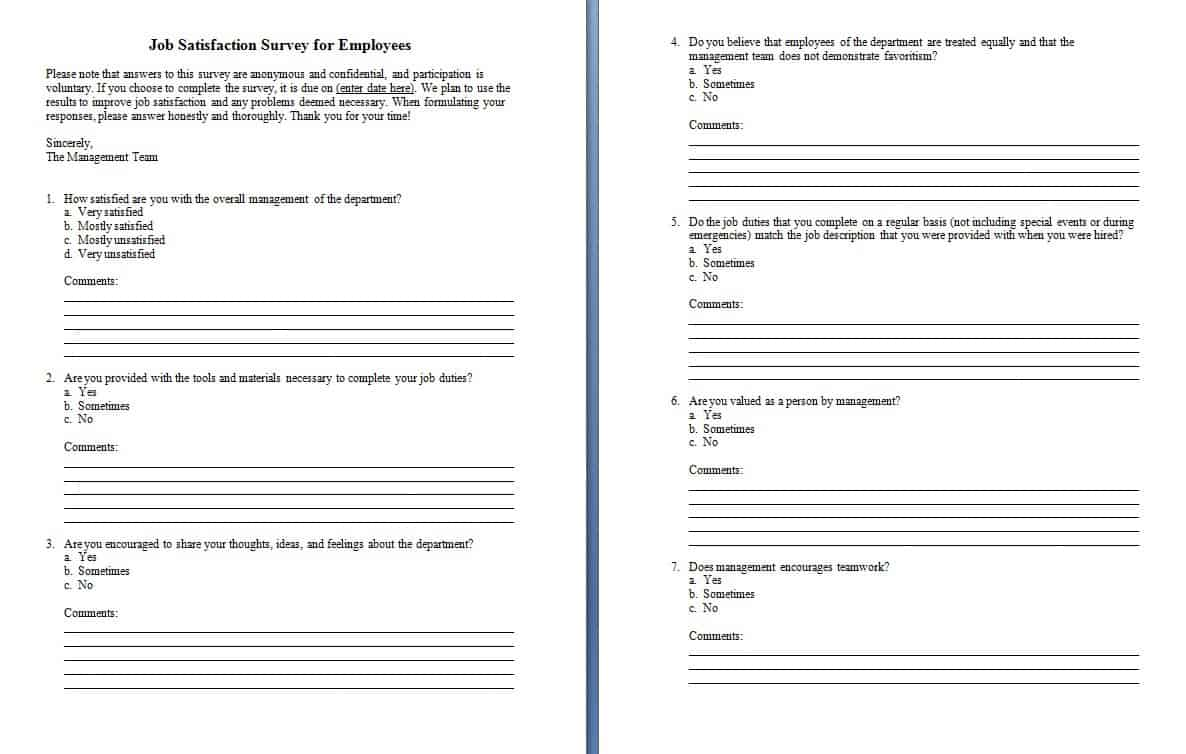 Survey forms in word