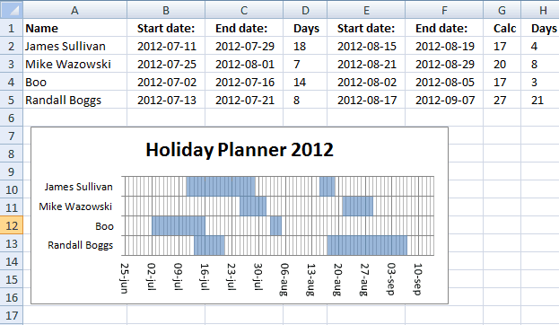 Holiday Planner Templates - Excel xlts