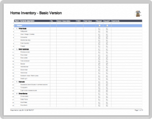 home inventory templates