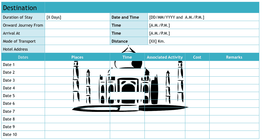 4 Itinerary Templates - Excel xlts