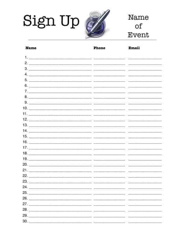 printable sign up sheet templates koni polycode co