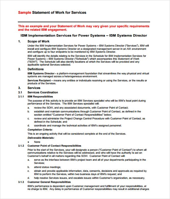 statement of works template 4 statement of work templates excel xlts