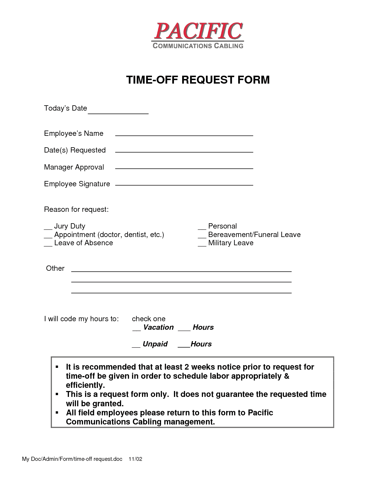 time off request form template 2
