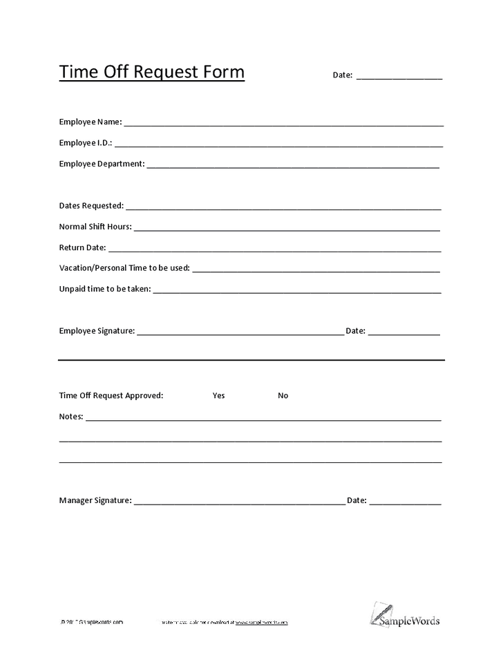 time off request form template 3