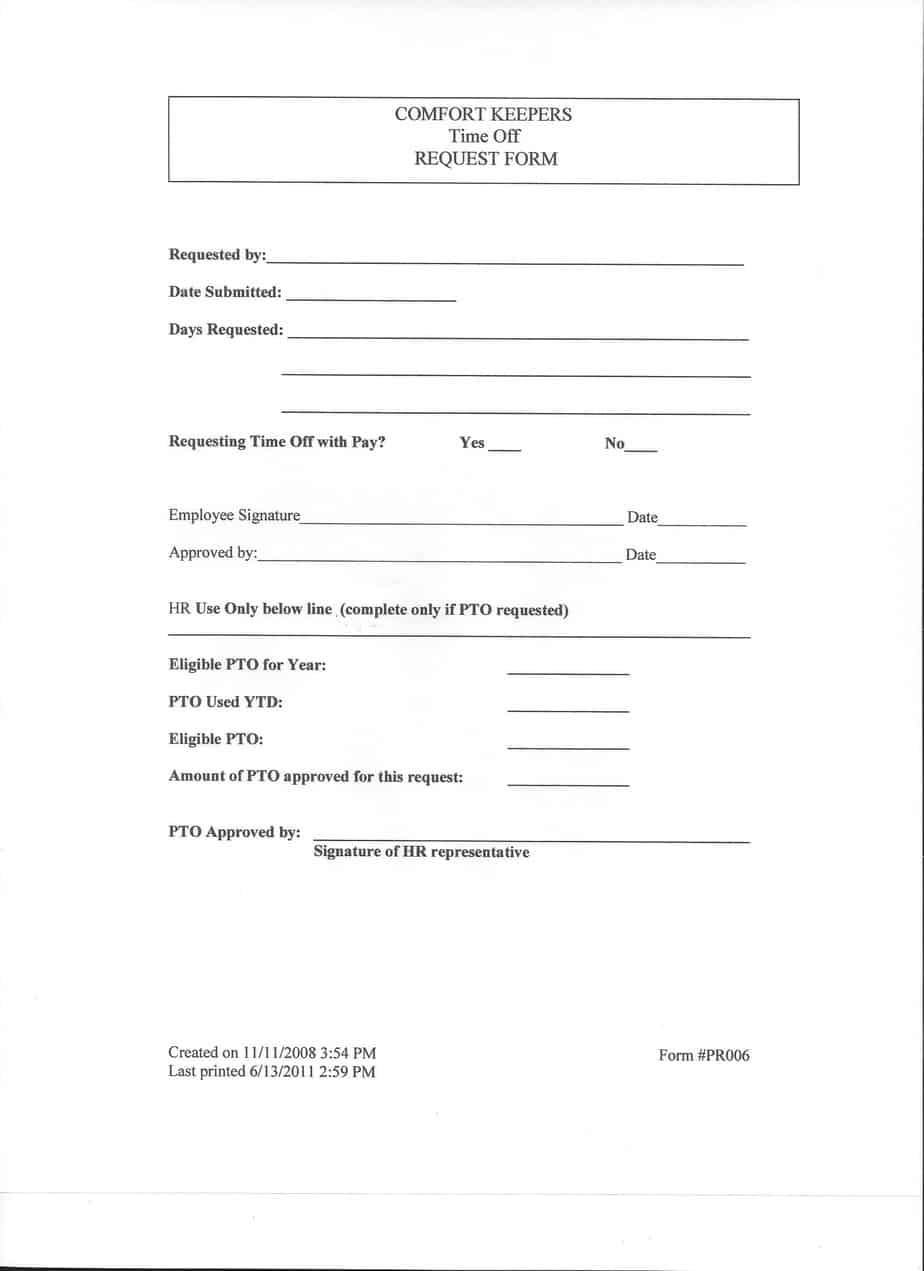 Time Off Request Form Templates - Excel xlts