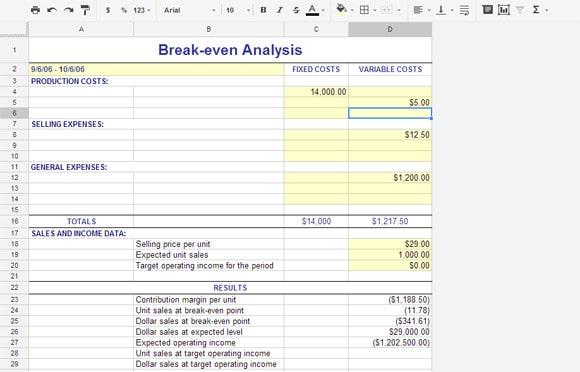 break even analysis preview 1