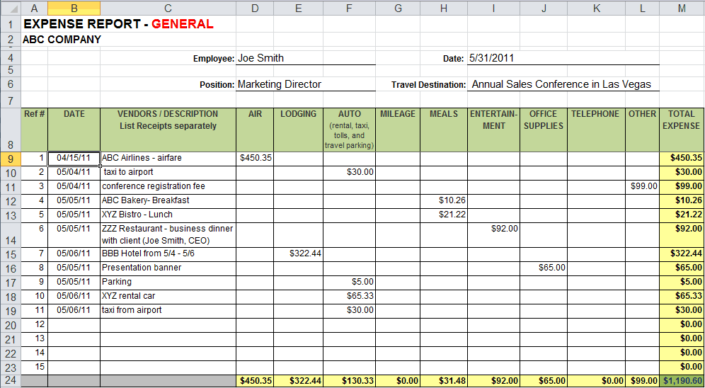 expense tracking excel template