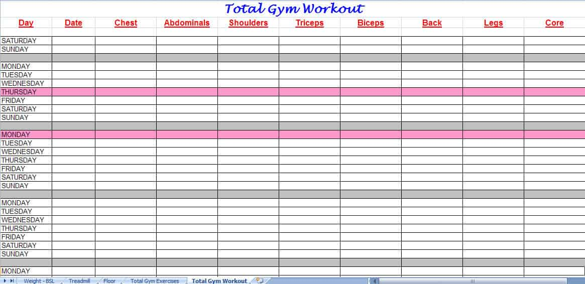 Sample Chart Templates » Workout Chart Template - Free Charts