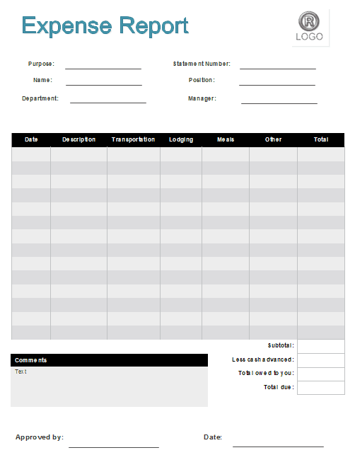 expense clain form template preview 2