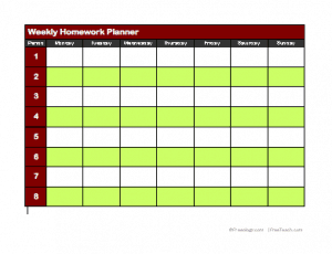 Download Homework Schedule Templates Free