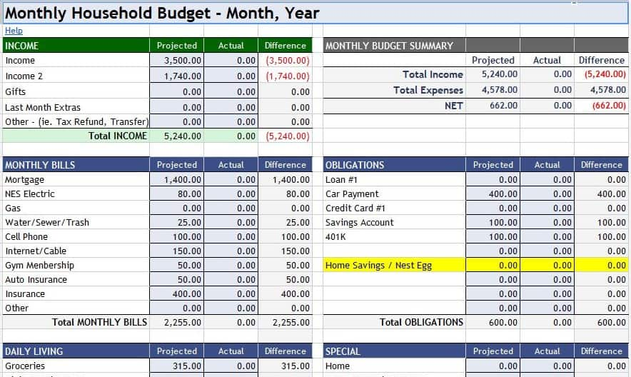 monthly home budget spreadsheet