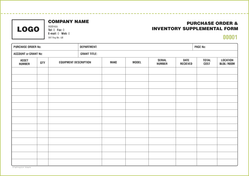 parts inventory spreadsheet template
