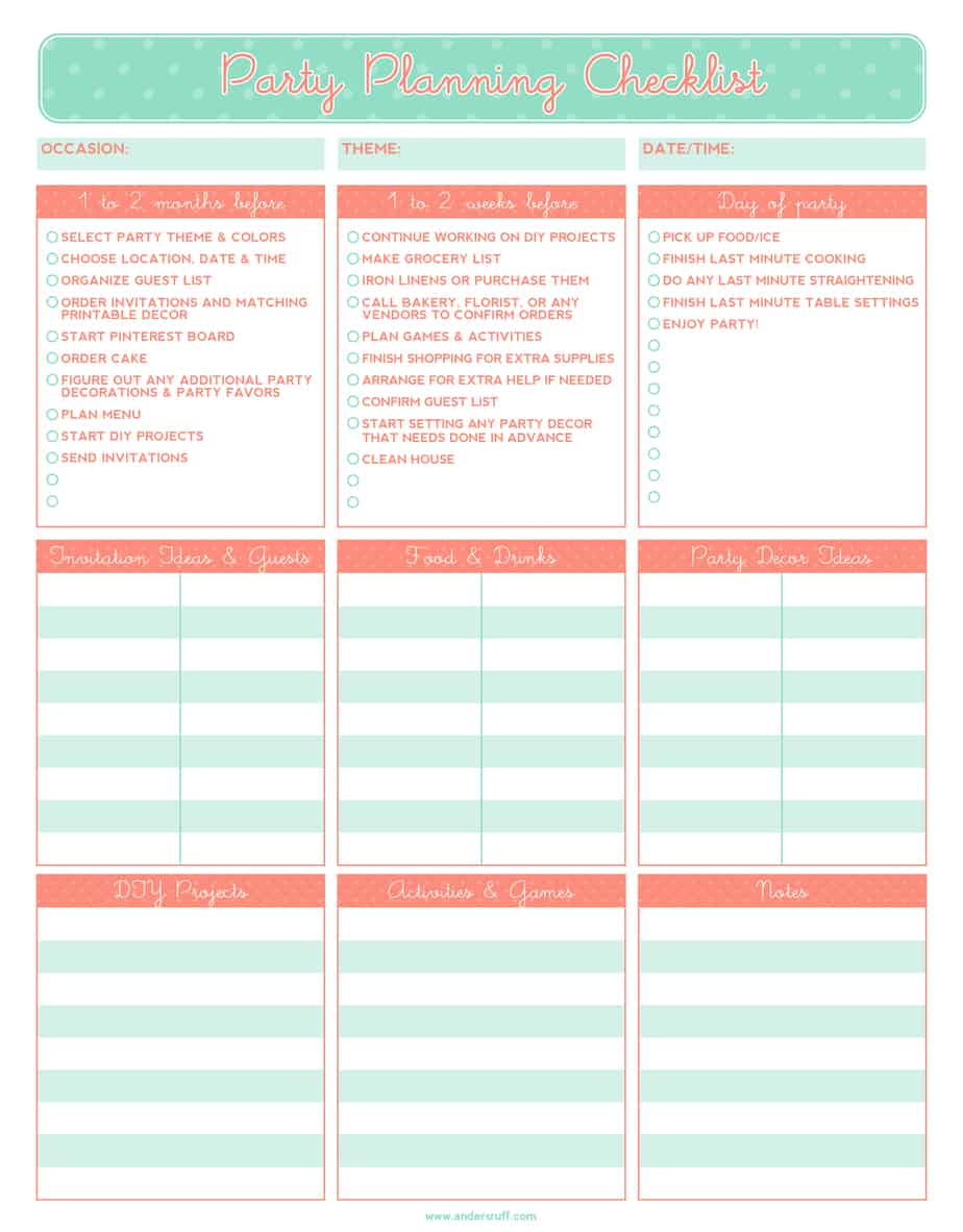 Worksheets Event Planning Worksheets 5 party planning templates excel xlts