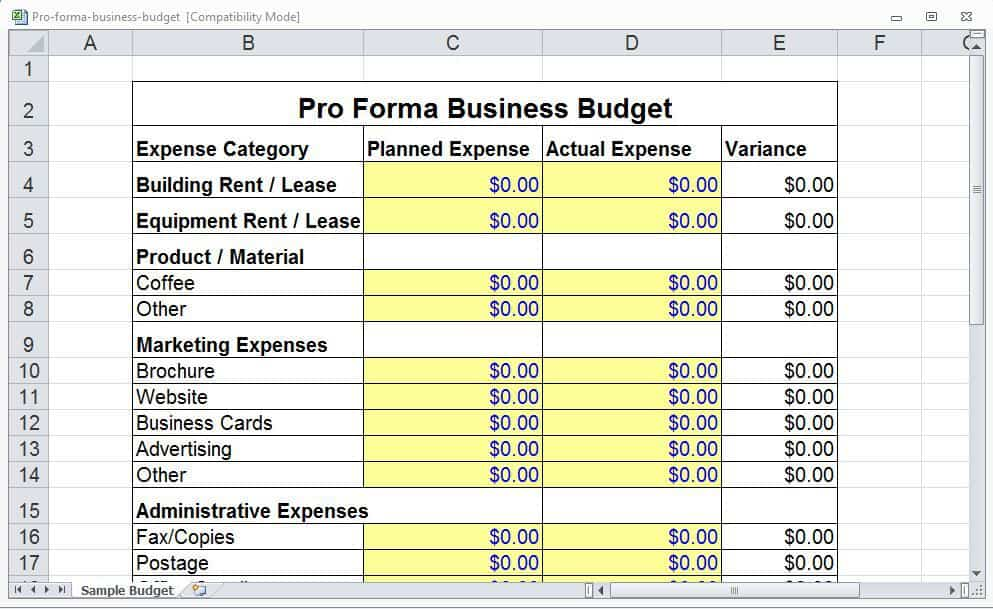 4 pro forma budget templates excel xlts. Black Bedroom Furniture Sets. Home Design Ideas