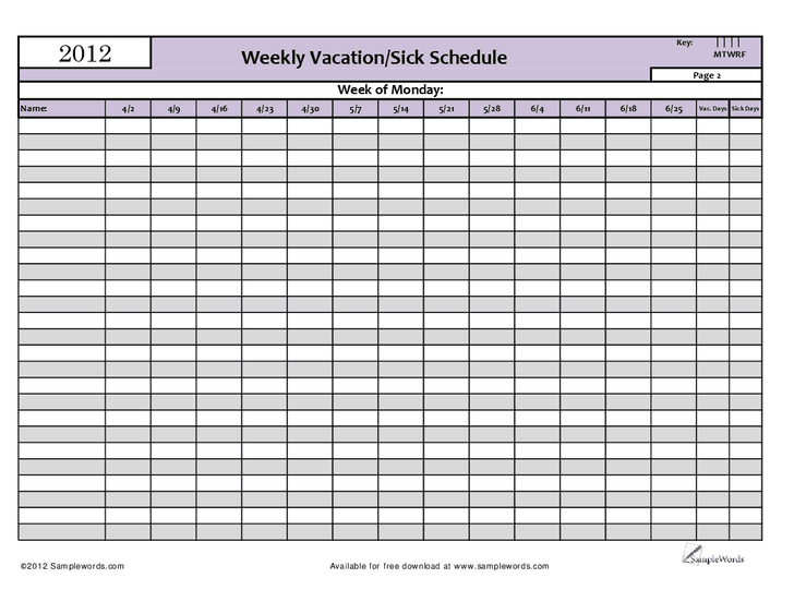 Employee Vacation Schedule Template Shefftunes
