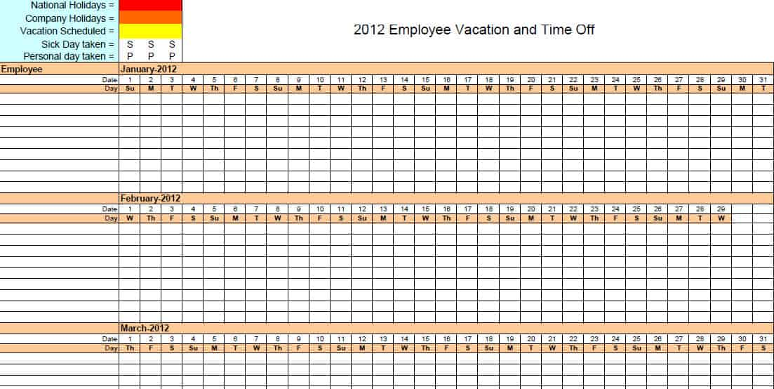 2016 Free Employee Vacation Calendar | Calendar Template 2016