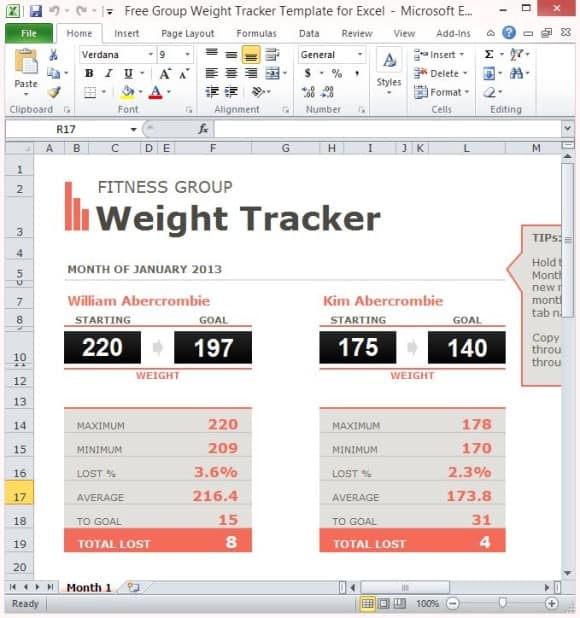 Weight Loss Challenge Spreadsheet Templates - Excel xlts