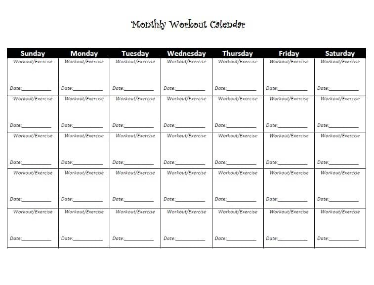 exercise calendar template free - 5 workout calendar templates excel xlts