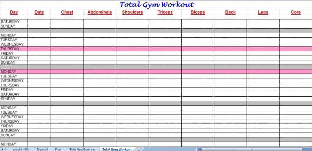 Work Out Schedule Template Leoncapers