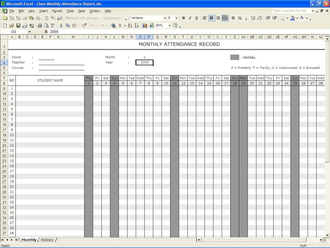school register template spreadsheet - 5 attendance register templates excel xlts