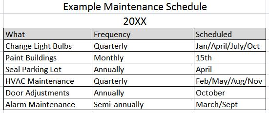 building maintenance schedule template 11