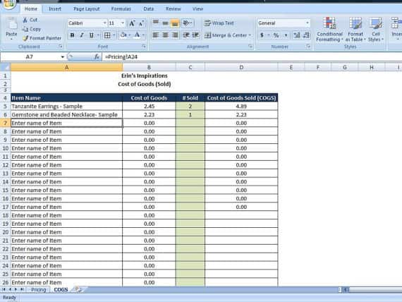 cost of goods sold excel template