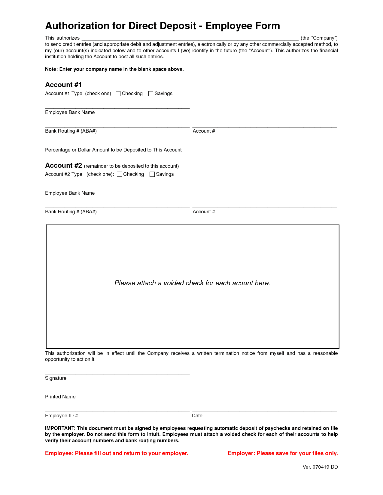 direct deposit form template 33