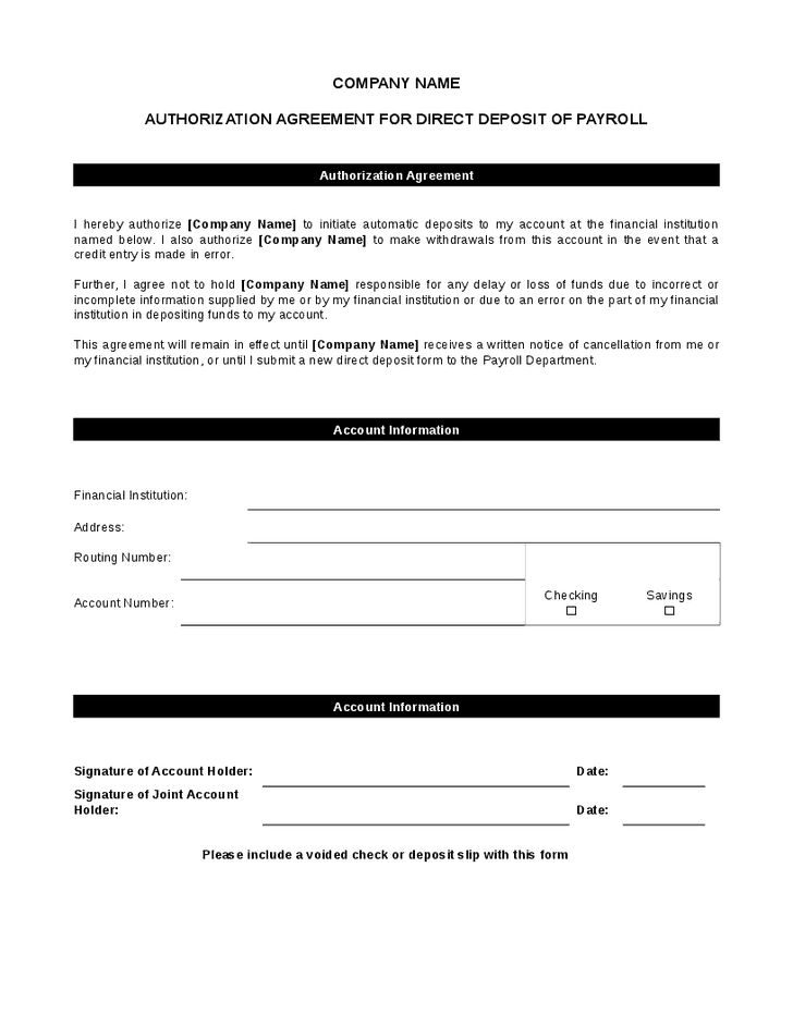 payroll direct deposit authorization form template - Template