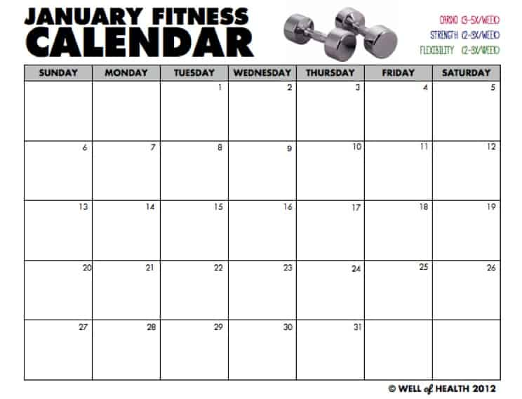 "... for ""Free Printable Workout Calendar Template"" – Calendar 2015"