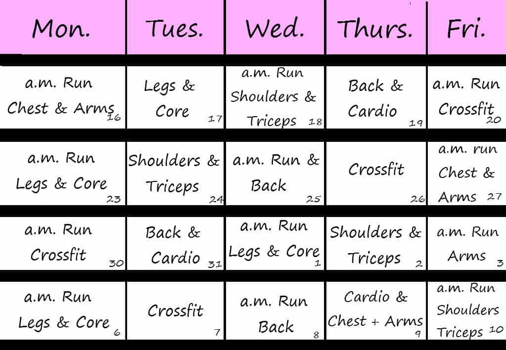 Fitness Calendar Templates - Excel xlts