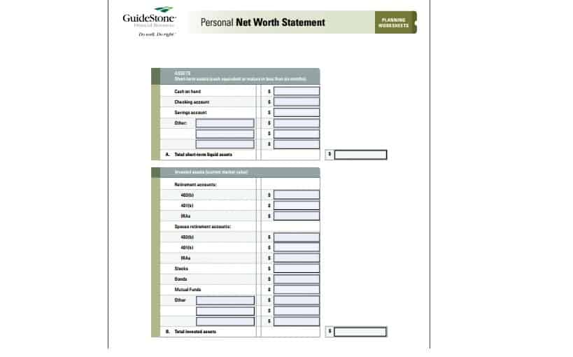 personal net worth statement template excel