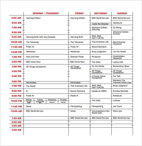 tv program schedule templat e11
