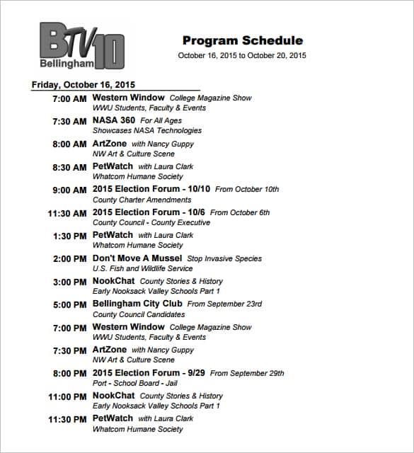 tv program schedule template 33