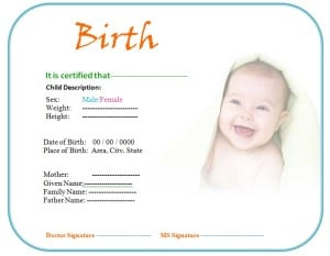 Birth Certificate Template Image