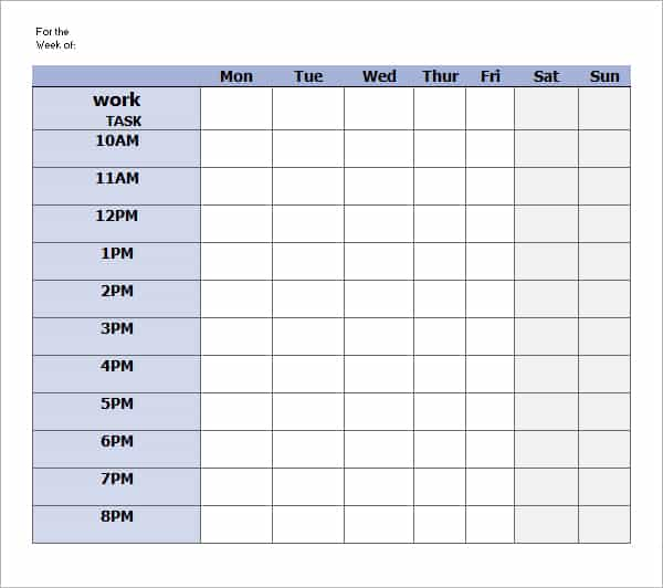 daily work schedule template image 4