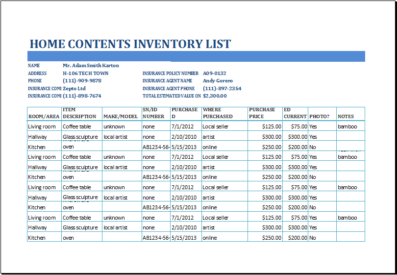inventory list template 3