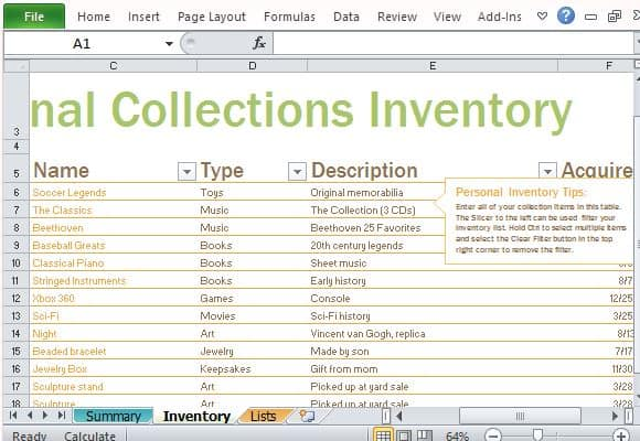 inventory list template 4