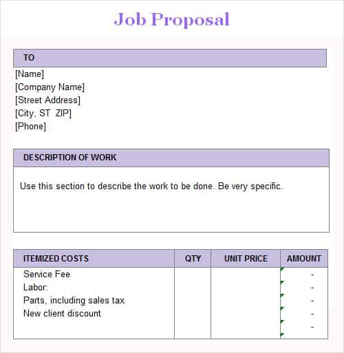 3 Job Proposal Templates Excel Xlts