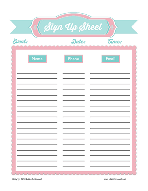 sign up sheet template 4