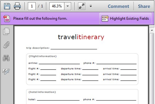 how to add forwarded email itinerary