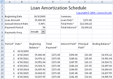 amortization schedule template 3