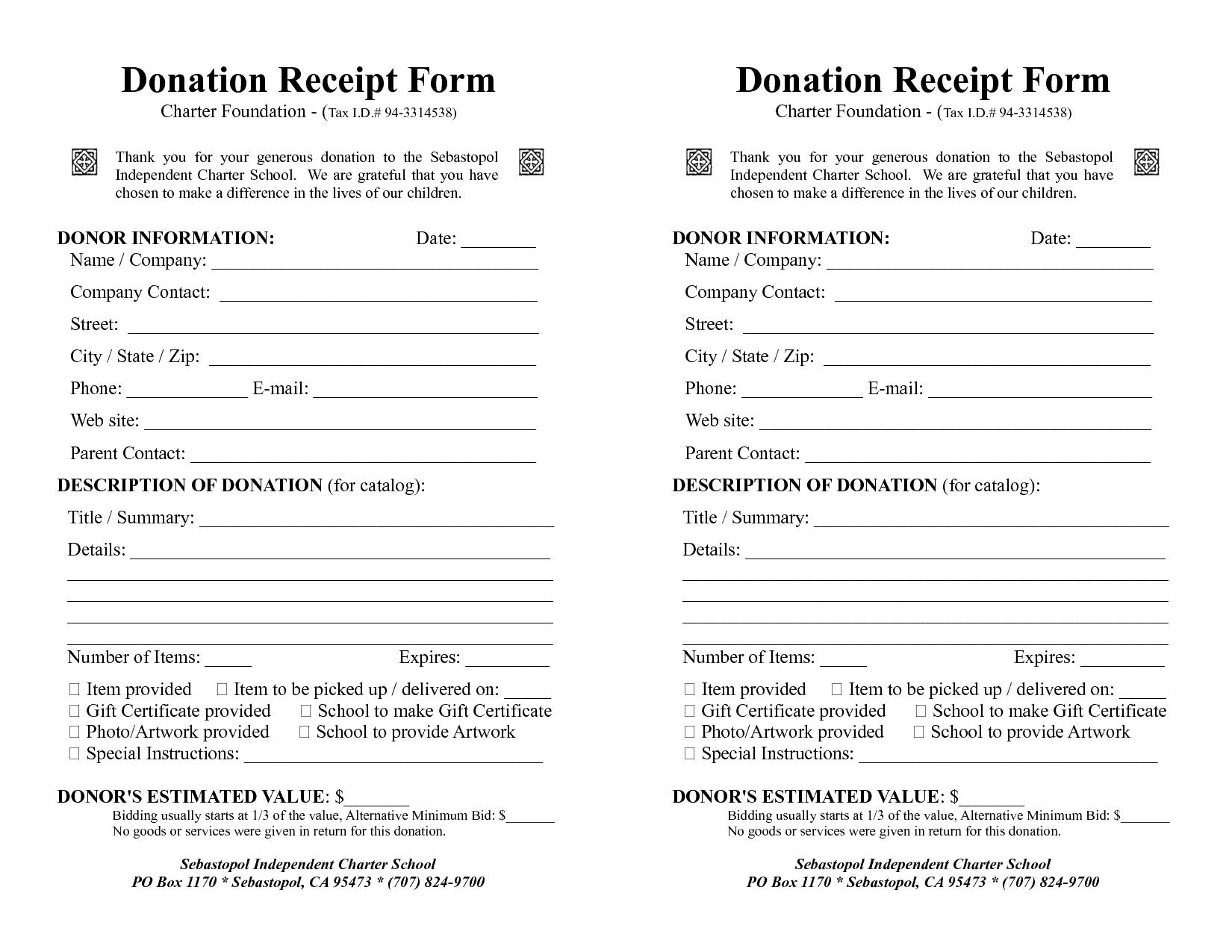 4 Donation Receipt Templates - Excel xlts