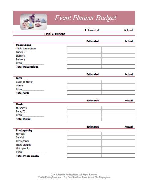 3 event planning budget templates excel xlts for Template for planning an event