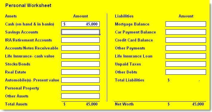 personal financial statement template 3