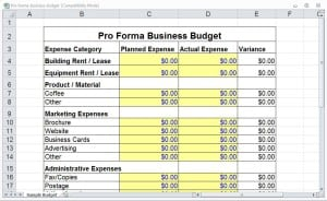 pro forma example excel