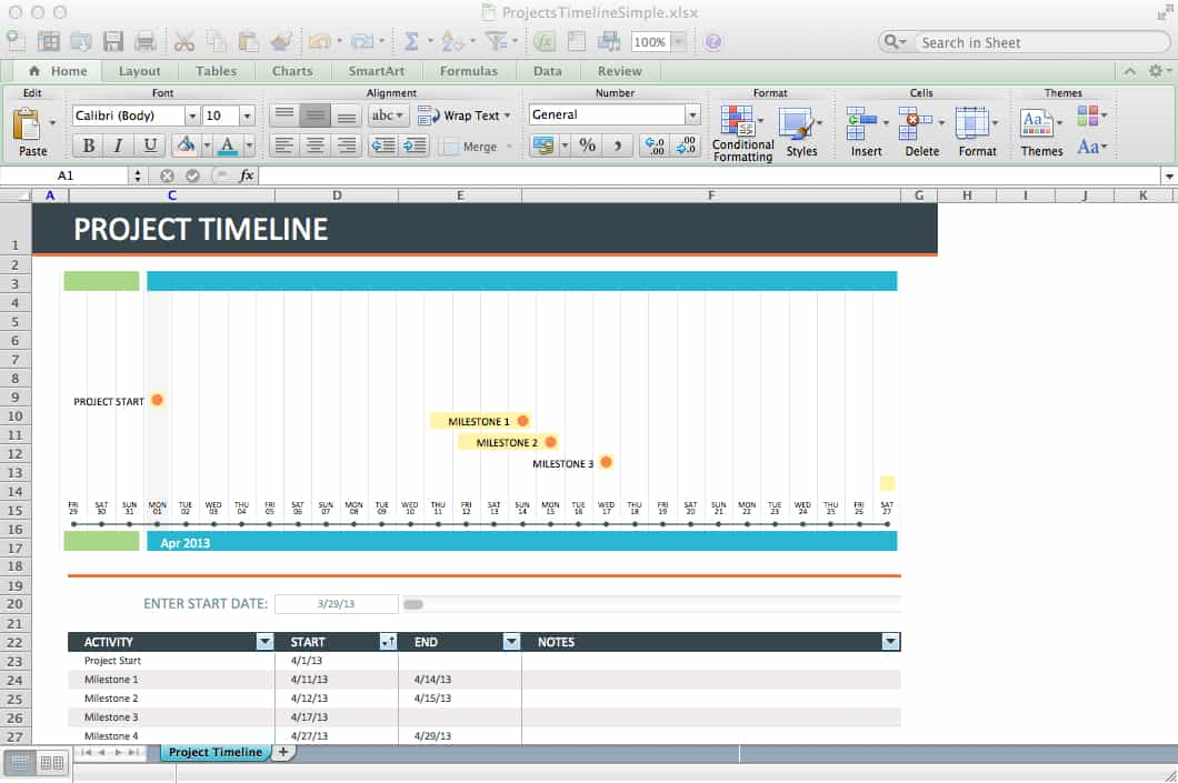 office timeline using excel for project management