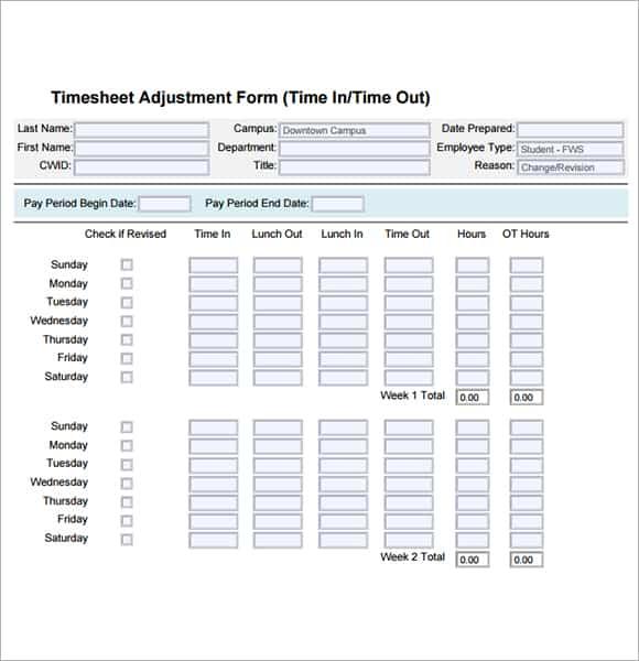 timecards template 3