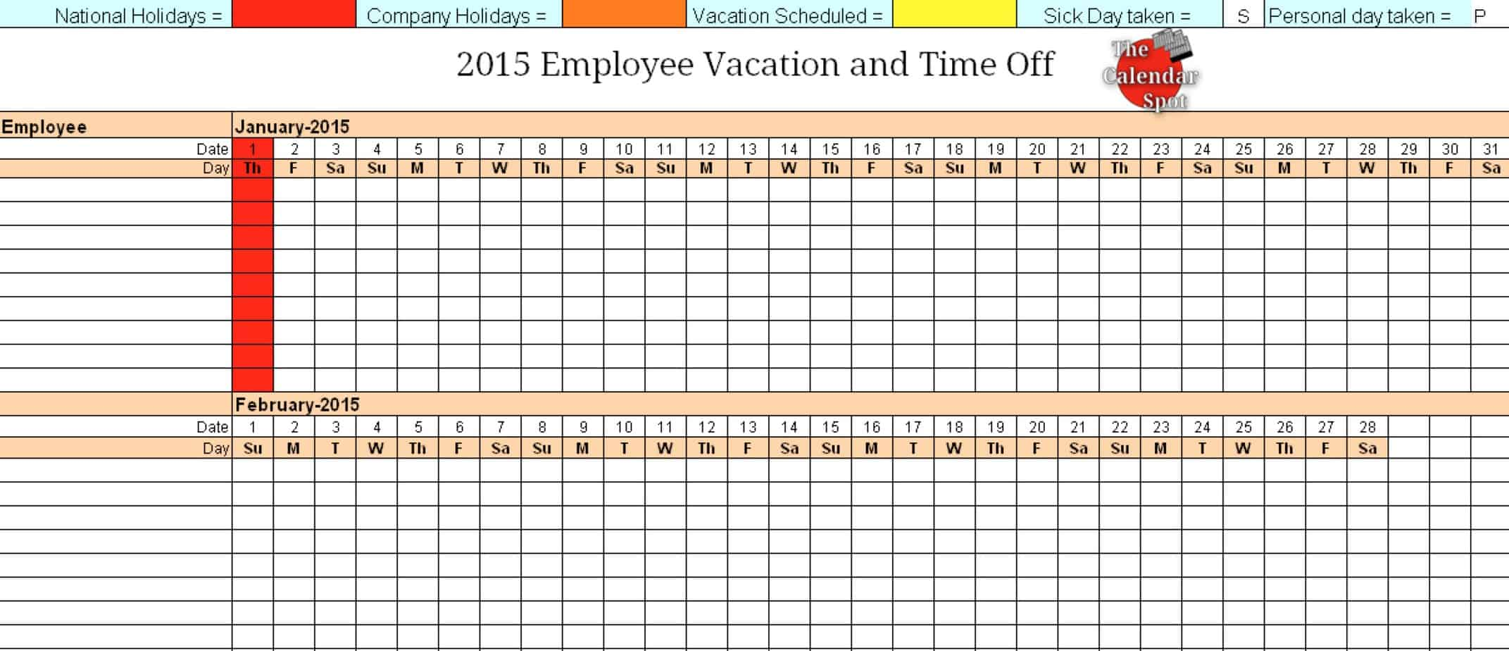 vacation schedule template 4